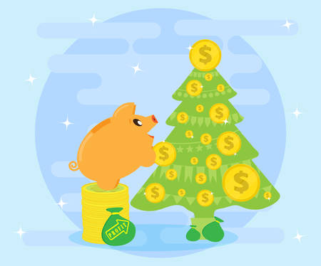 Successful investments bring profits and wealth that allows you to make gifts. Happy Pig piggybank decorate coins Christmas tree. Flat style