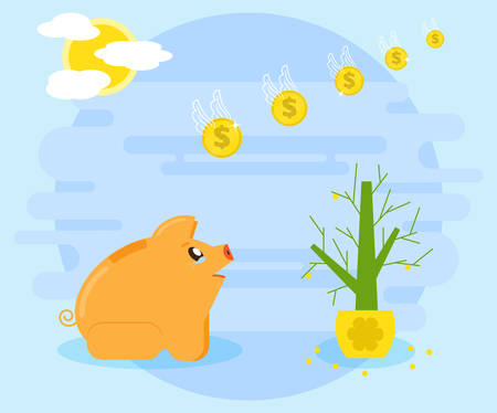 Losing money, savings, accumulation as a result of risky, reckless investments, financial crisis, or the action swindlers. Angry, weeping pig piggybank looks like money fly. Flat style
