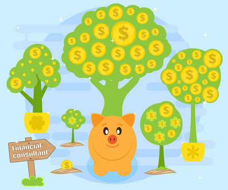 accumulation: Financial consultations on the creation of cash flows for the accumulation of wealth. Happy pig piggybank sitting on a background of money trees. Successful investments and stable profits. Flat style