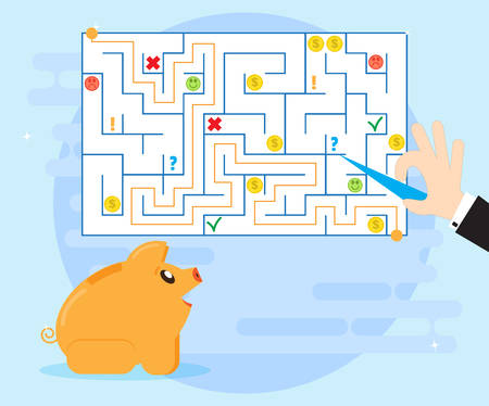 difficult situation: Action planning and good strategy to overcome difficulties and obstacles, to find a way out of a difficult situation. Happy pig piggybank learns financial planning. Improving financial Literacy Illustration