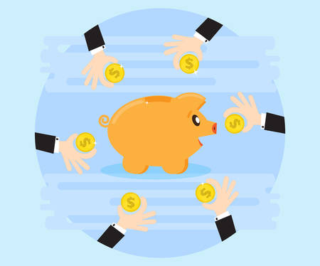 Hands business together saving money on the piggybank. Creating a cash flow. Investing for wealth and profit. The love of money. Flat style