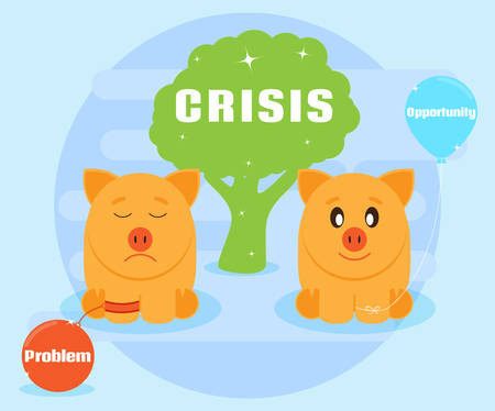 achieving: Crisis is the challenges and opportunities. Different attitudes to the crisis. Overcoming problems, achieving success. Positive attitude to the crisis. Flat style Illustration