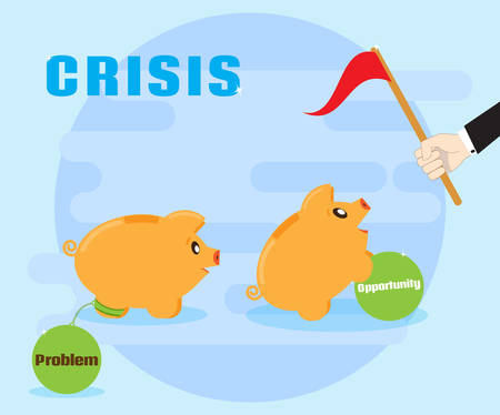 Crisis is the challenges and opportunities. Different attitudes to the crisis. Overcoming problems, achieving success. Positive attitude to the crisis. Flat style Illustration