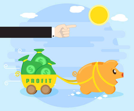 Management and control of the resulting profits. Businessman hand shows the way, the direction of motion of a happy pig piggybank, which carries a profit. Flat style