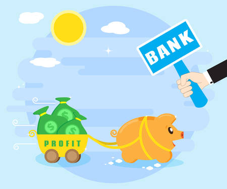 debt goals: Keeping profits, wealth in the bank. Reliable preservation of savings. Happy pig piggybank keeps money in the bank. Flat style