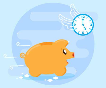 時間は待機しません。時間リソースは、十分ではありません。時間ハエ豚 piggybank を実行します。時間はお金のため購入できません。フラット スタ  イラスト・ベクター素材