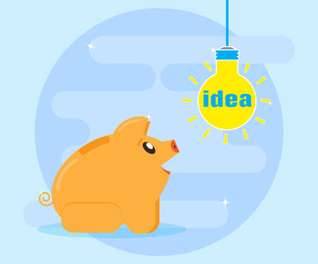 Find, invent, generate good financial idea for profit and wealth. Flat style