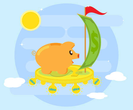Good, creative ideas are profitable. Creative thinking can generate ideas and obtain financial profit. Happy pig piggybank flying on a coin through ideas. Flat style