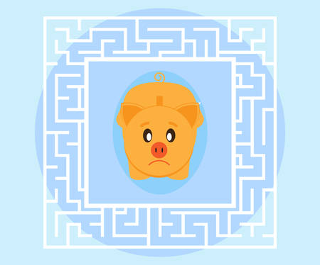 difficult situation: Solving problems. Business concept. Sad pig piggybank looking for a way out of a difficult situation. Flat style Illustration