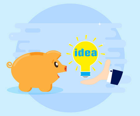 Get a gift, find, invent, generate good financial idea for profit and wealth. Great idea, business solution, innovative technology. Human hand and lightbulb. Flat style
