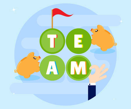 coordinated: Teamwork. Cohesive and coordinated work of the team members can achieve its goals and plans. Successful work for profit and wealth. Flat style