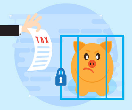 concealment: Paying taxes on profits. Not timely payment of taxes and concealment of income can lead to imprisonment. Angry pig piggybank arrested and sitting behind bars. Flat style Illustration