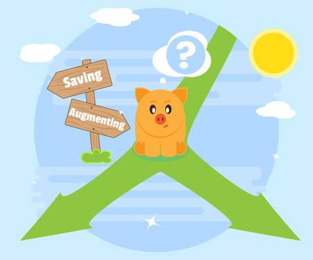 augmentation: Problem of choice. Way savings. Way augmentation wealth. Flat style Illustration