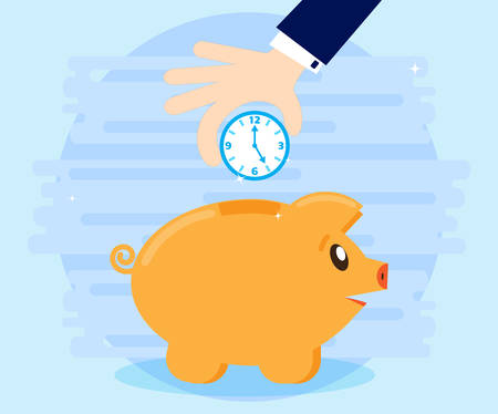 more money: Businessman hand down clock in pig piggybank. Business concept. Time more than money. Time is an investment. Flat style, cartoon