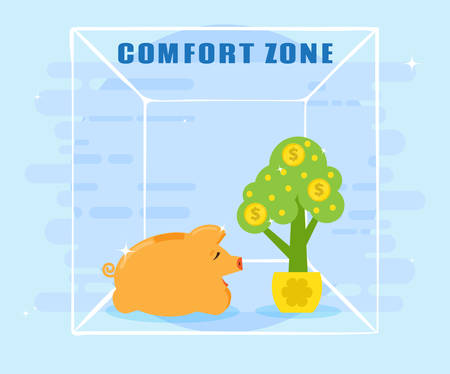 sense of security: Pig piggy bank is in a comfort zone. A sense of security. Contentment is achieved, there is no risk. Flat style