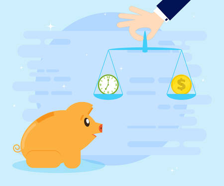 Pig piggybank making decision between time or money, time is money concept. Balancing Time and Money. Flat style, cartoon