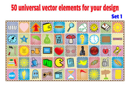 explosive watch: Set cartoon patches, stickers and badges. Objects in a flat style. Collection universal elements for design and decoration Illustration
