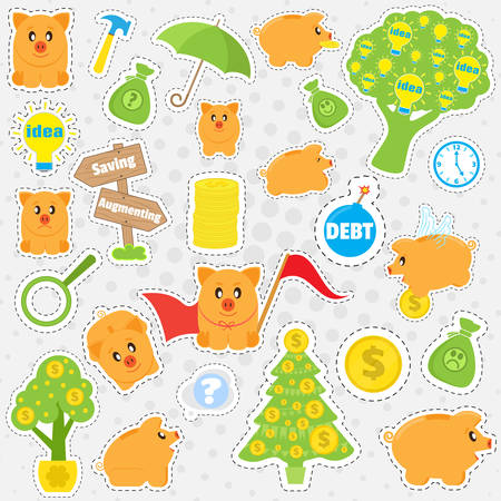 christmas debt: Set cartoon patches, stickers and badges on the business theme. Pig piggybank, and business objects in a flat style. Collection of elements for design and decoration, vector Illustration