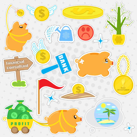 Set cartoon patches, stickers and badges on the business theme. Pig piggybank, and business objects in a flat style. Collection of elements for design and decoration, vector Illustration