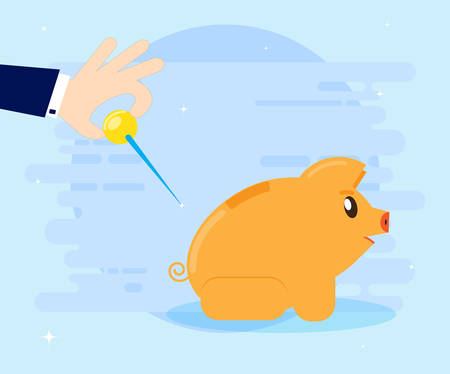 The concept of financial crisis. Businessman with a big needle in the hand wants to pierce pig piggy bank. Cartoon, flat style
