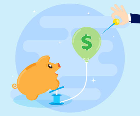 pierce: The concept of financial crisis. Naughty Pig piggy bank inflates the bubble, and a businessmans hand wants to blow away ball, needle pierce. Cartoon, flat style Stock Photo