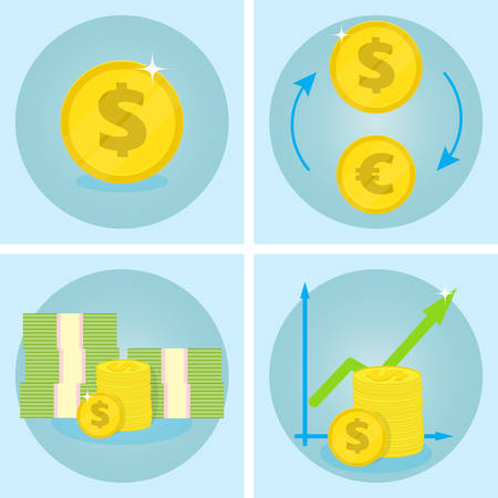 Business icons. Dollar vector icon. Exchange dollars for euros. Currency exchange and money concept symbol. Stack of cash. Financial growth icons, symbol of growing chart with coins