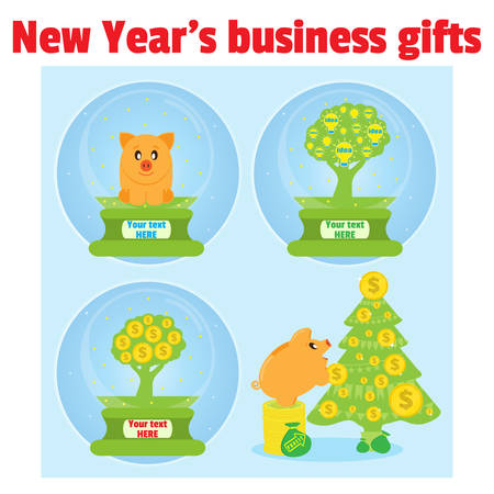 christmas debt: New year business gifts. Piggy bank, money tree and tree with ideas in Christmas snow globe. Successful investments bring wealth that allows you to make gifts. Piggy bank decorate coins Christmas tree