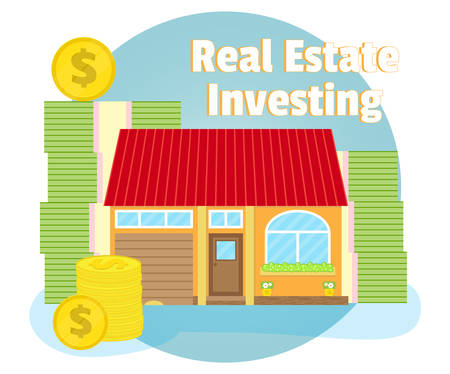 subprime: Investments in real estate. House on the background of banknotes and coins. Business concept. Cartoon, flat style Illustration