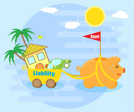 bank cart: Business concept - asset or liability. Pig piggy bank - the asset - is pulling the cart in which lies the house, cars, palm trees - a liability. Cartoon, flat style