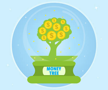 Money tree in a glass bowl. Wealth concept. Cartoon, flat style