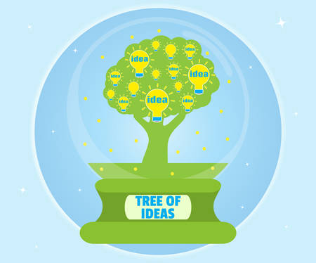 Tree with ideas of glass bowl. The concept of knowledge and creative thinking. Cartoon, flat style