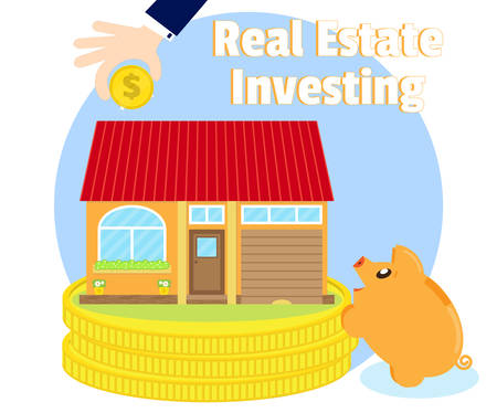 subprime: Investments in real estate. Purchase of the beautiful house. The businessmans hand with a gold coin. Pig piggy bank near the coins. Business concept. Cartoon, flat style