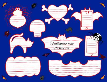 Halloween note stickers set. Bat, spider, cat, skull, heart, phone pumpkin for your text Vector illustration