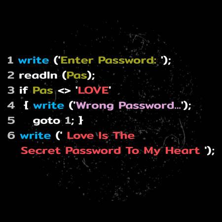 descriptor: Love Password request in program code. Vector illustration Illustration
