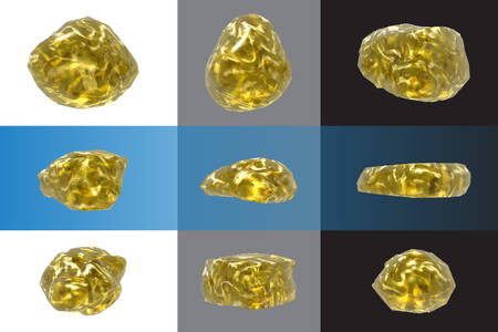 nuggets: Set stones gold nuggets glass objects. Elements for decor design Illustration