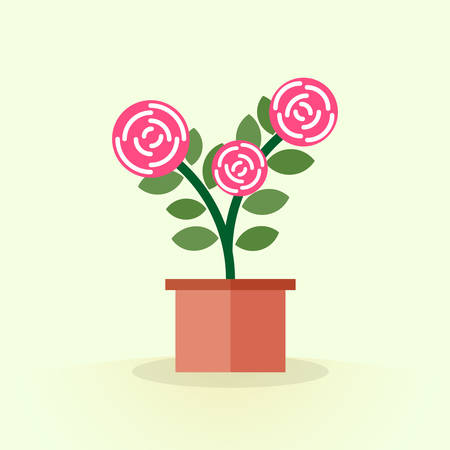 shrub: Cute blooming pink flower in pot. Simple houseplant shrub Rose in flat style. Floriculture. Vector illustration