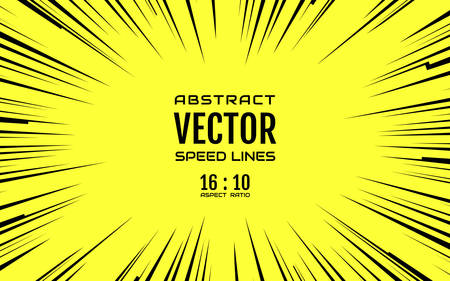 Black comic radial speed lines on yellow base in 16:10 ratio. Effect power explosion illustration. Comic book design element. Graphic explosion with speed lines in comic book style. Vector