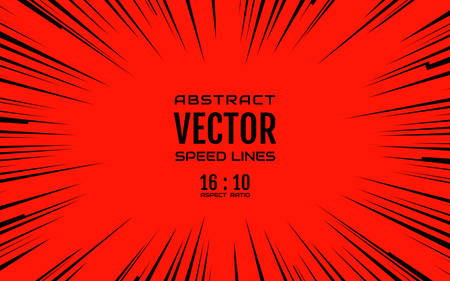 red abstract backgrounds: Black comic radial speed lines on red base in 16:10 ratio. Effect power explosion illustration. Comic book design element. Graphic explosion with speed lines in comic book style. Vector Illustration