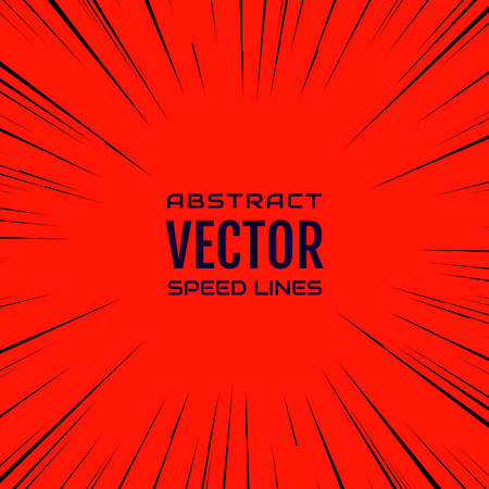 red abstract backgrounds: Black comic radial speed Lines on red base. Effect power explosion illustration. Comic book design element. Graphic explosion with speed Lines in comic book style. Vector
