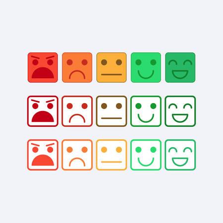 Farbe gesetzt quadratische Ikone von Emoticons. Rang, Grad der Zufriedenheit Bewertung in Form von Emotionen, smileys, Emoji. Ausgezeichnet, gut, normal, schlecht, schrecklich. Feedback, User Experience in flachen Symbol