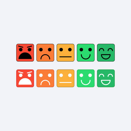 Color set square icon of Emoticons. Rank, level of satisfaction rating in form of emotions, smileys, emoji. Excellent, good, normal, bad, awful. Feedback, user experience in flat icon