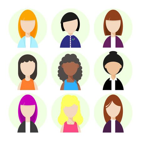 african teacher: Women face avatars collection. Set of flat people face icons. Modern design character icons isolated on white background. Portrait avatar concept. Vector illustration