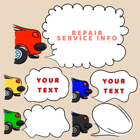 tags cloud: Car and speech bubbles for message. Sketchy automobile with tags cloud. Transport set banners or templates for printing. Base for text. Information, note about car repair service. Vector illustration