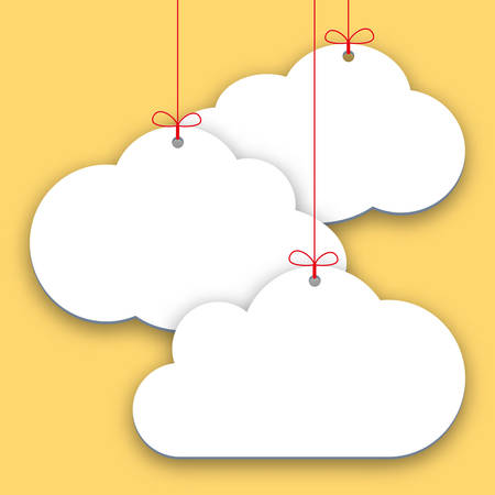 Paper price stickers on yellow background, simple shopping tags in form of clouds. Sales design element, store decoration, price frame, message banner. Vector illustration