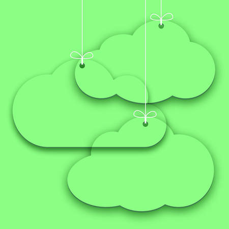 Transparent paper price stickers on green background, simple shopping tags in form of clouds. Sales design element, store decoration, price frame, message banner. Vector illustration