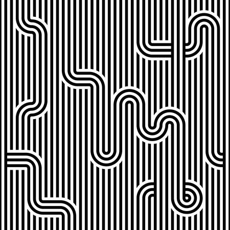 loopy: Seamless geometric striped pattern. Monochrome striped loopy ribbon, with maze elements. Geometric graphic texture. Endless striped monochrome background with winding elements. Vector illustration