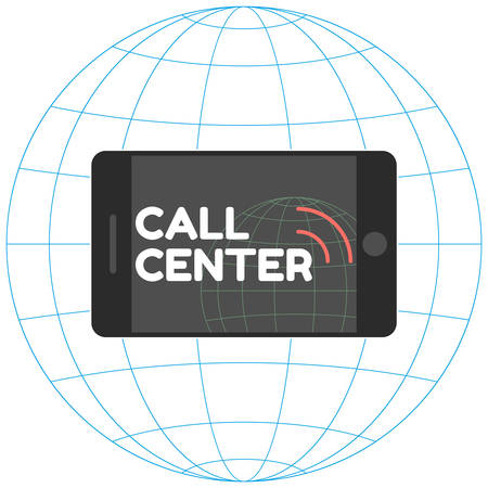 centralised: call center in flat style. Mobile phone with stylish inscription Call Center and sound waves. Icon horizontal smartphone on the background of globe. Vector illustration