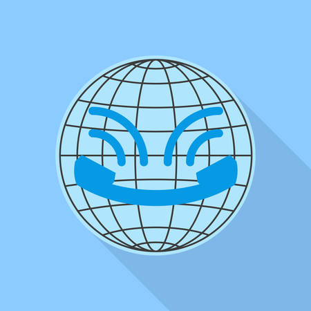 centralised: Icon call center in flat style, looks like smiley, with long shadows. Globe and vintage handset with sound waves. Icon isolated on blue background. Vector illustration Illustration