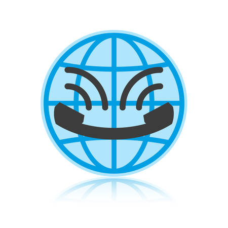 centralised: Icon call center in flat style, looks like smile. Globe and vintage handset with sound waves. Icon isolated on white background. Vector illustration