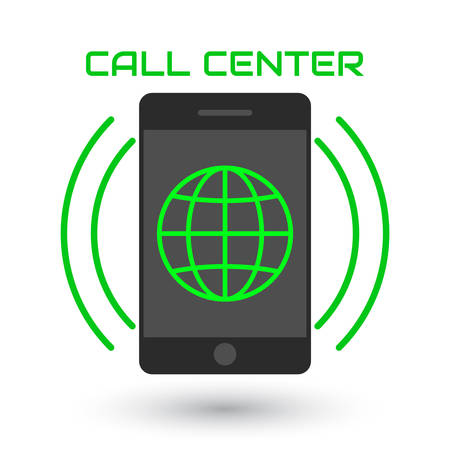 centralised: Icon call center in flat style. green globe inside mobile phone, with the sound waves. Icon smartphone isolated on white background. Vector illustration
